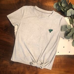 Tops - Grey Crop Top w/ Embroidered Cactus & Knot